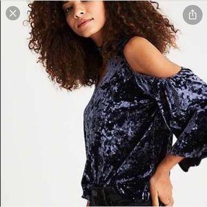 NWOT American Eagle blue velvet cold shoulder top